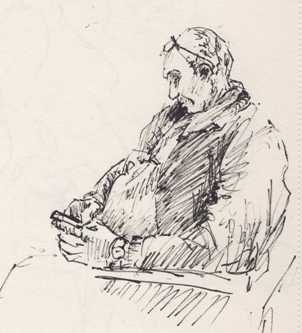Airport Sketch, Man Texting