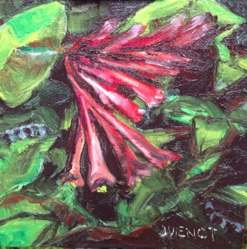 Oil painting of coral bean flowers