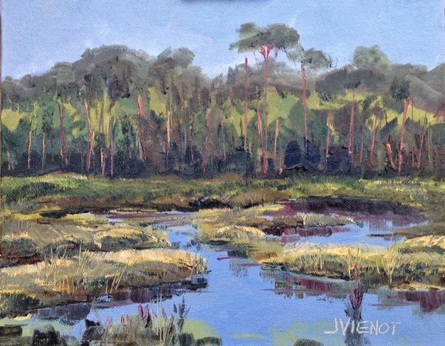 Oil painting of the wetlands at Camp Creek Lake, South Walton county, Florida