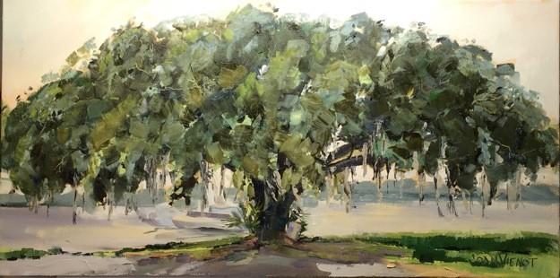 Oil painting of the huge live oak tree at Oak Marina in Niceville, FL