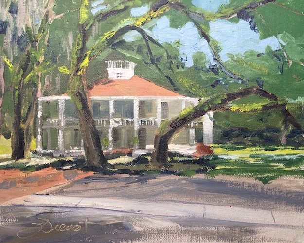 Oil painting of the Wesley Mansion at Eden Gardens State Park, painted en plein air