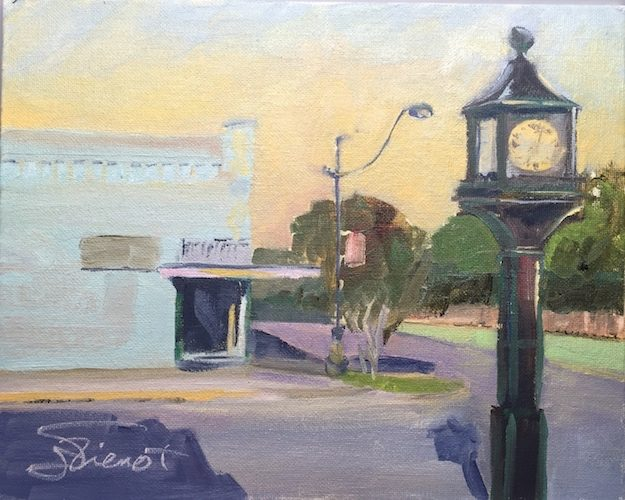 Oil painting of the bank clock on Baldwin Ave., DeFuniak Springs, FL, painted en plein air