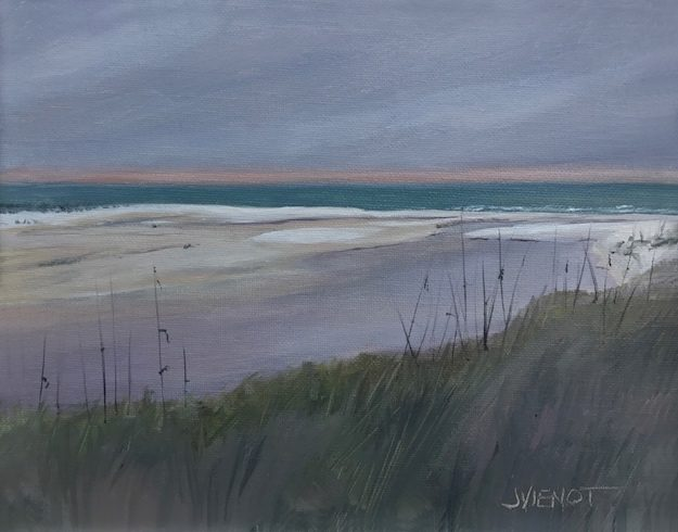 Oil painting of the Western Lake Outfall in Grayton Beach, FL, on an overcast day, painted en plein air