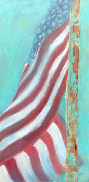 Oil painting of faded American flag and rusty flagpole