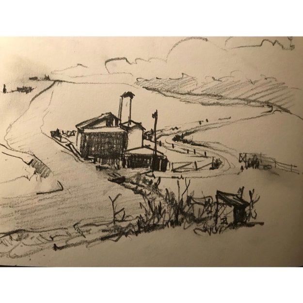 Graphite sketch of farmhouse scene