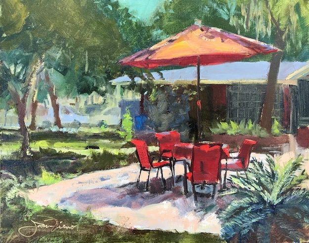 Oil painting of backyard scene with red chairs and red umbrella