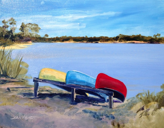 Oil painting of canoes in front of Western Lake at Grayton Beach State Park