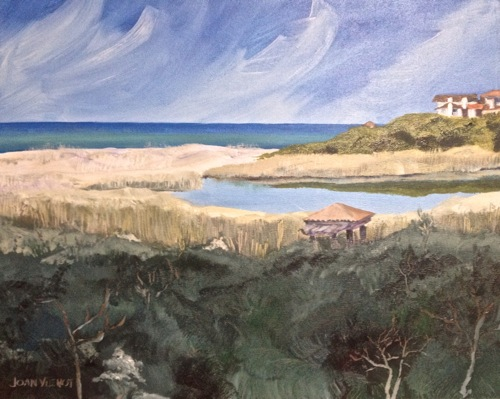 Practice piece for commissioned oil painting of the view from a balcony at Sanctuary By The Sea, Santa Rosa Beach, Florida: Redfish Lake and the Gulf of Mexico