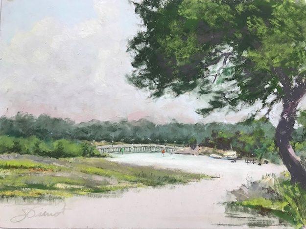 Soft pastels painting of the marsh and bridge on Bayou Texar, Pensacola, FL