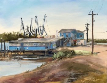 Oil painting of Billy's Seafood in Bon Secour near Gulf Shores, AL