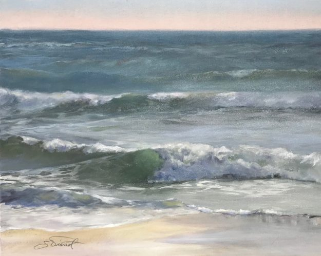 Final version of oil painting completed in Dorothy Starbuck's workshop on breaking waves, previously posted in-progress
