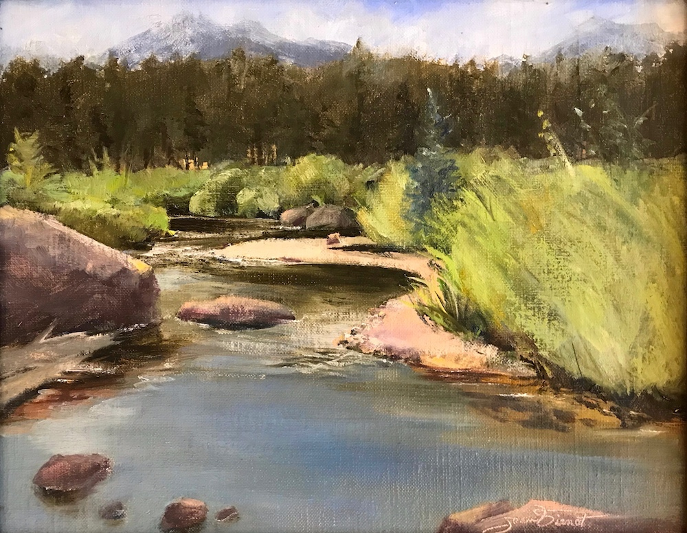 Oil painting of the Big Thompson River flowing through Moraine Park above Estes Park, Colorado